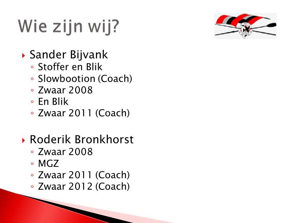  Sander Bijvank ◦ Stoffer en Blik ◦ Slowbootion (Coach) ◦ Zwaar 2008 ◦ En Blik ◦ Zwaar 2011 (Coach)  Roderik Bronkhorst ◦ Zwaar 2008 ◦ MGZ ◦ Zwaar 2