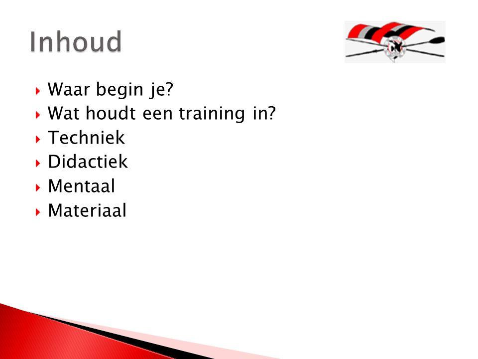  Waar begin je?  Wat houdt een training in?  Techniek  Didactiek  Mentaal  Materiaal
