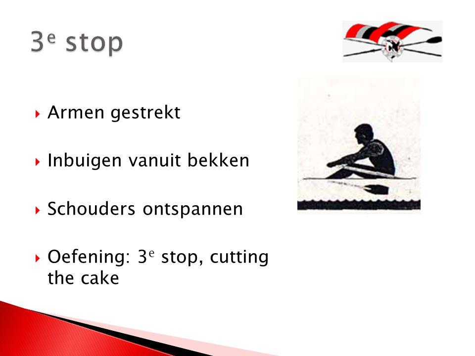  Armen gestrekt  Inbuigen vanuit bekken  Schouders ontspannen  Oefening: 3 e stop, cutting the cake