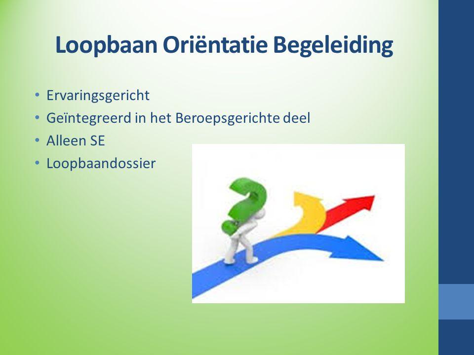 Loopbaan Oriëntatie Begeleiding Ervaringsgericht Geïntegreerd in het Beroepsgerichte deel Alleen SE Loopbaandossier