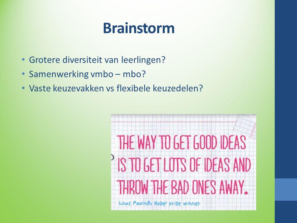 Brainstorm Grotere diversiteit van leerlingen? Samenwerking vmbo – mbo? Vaste keuzevakken vs flexibele keuzedelen?
