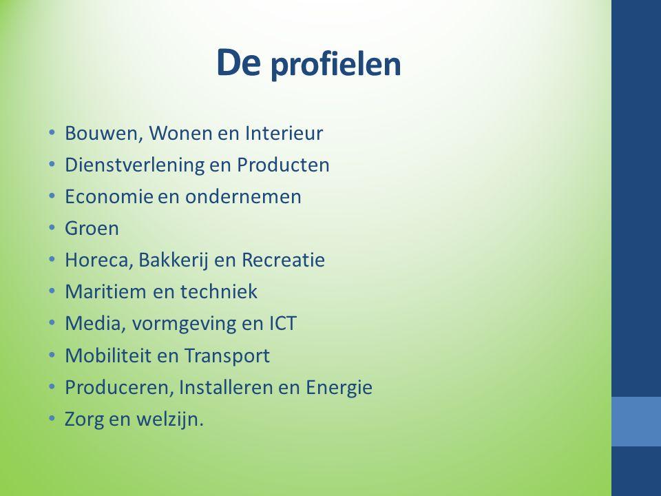 De profielen Bouwen, Wonen en Interieur Dienstverlening en Producten Economie en ondernemen Groen Horeca, Bakkerij en Recreatie Maritiem en techniek Media, vormgeving en ICT Mobiliteit en Transport Produceren, Installeren en Energie Zorg en welzijn.