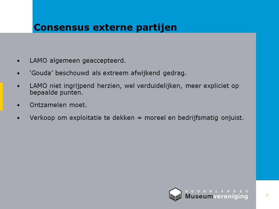 Consensus externe partijen 8 LAMO algemeen geaccepteerd.