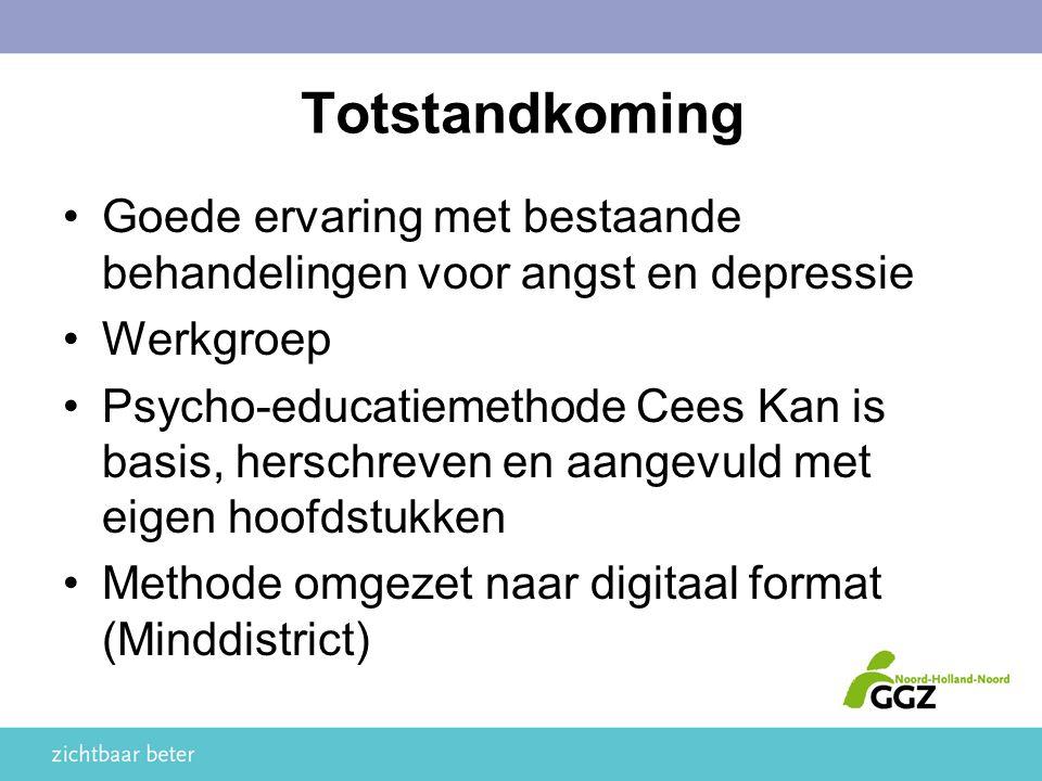 Totstandkoming Goede ervaring met bestaande behandelingen voor angst en depressie Werkgroep Psycho-educatiemethode Cees Kan is basis, herschreven en aangevuld met eigen hoofdstukken Methode omgezet naar digitaal format (Minddistrict)