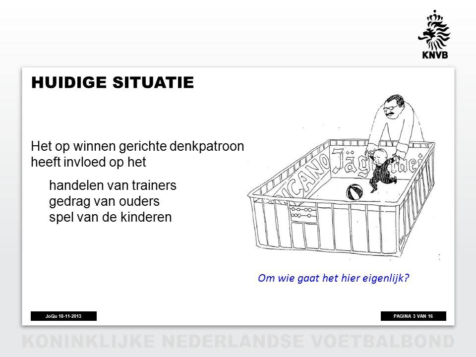 PAGINA 3 VAN 16JoQu 18-11-2013 HUIDIGE SITUATIE Het op winnen gerichte denkpatroon van volwassenen heeft invloed op het handelen van trainers gedrag van ouders spel van de kinderen Om wie gaat het hier eigenlijk?