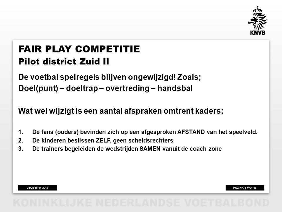 PAGINA 5 VAN 16JoQu 18-11-2013 FAIR PLAY COMPETITIE De voetbal spelregels blijven ongewijzigd.