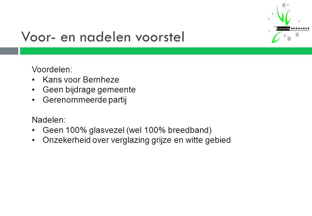 Voor- en nadelen voorstel Voordelen: Kans voor Bernheze Geen bijdrage gemeente Gerenommeerde partij Nadelen: Geen 100% glasvezel (wel 100% breedband) Onzekerheid over verglazing grijze en witte gebied