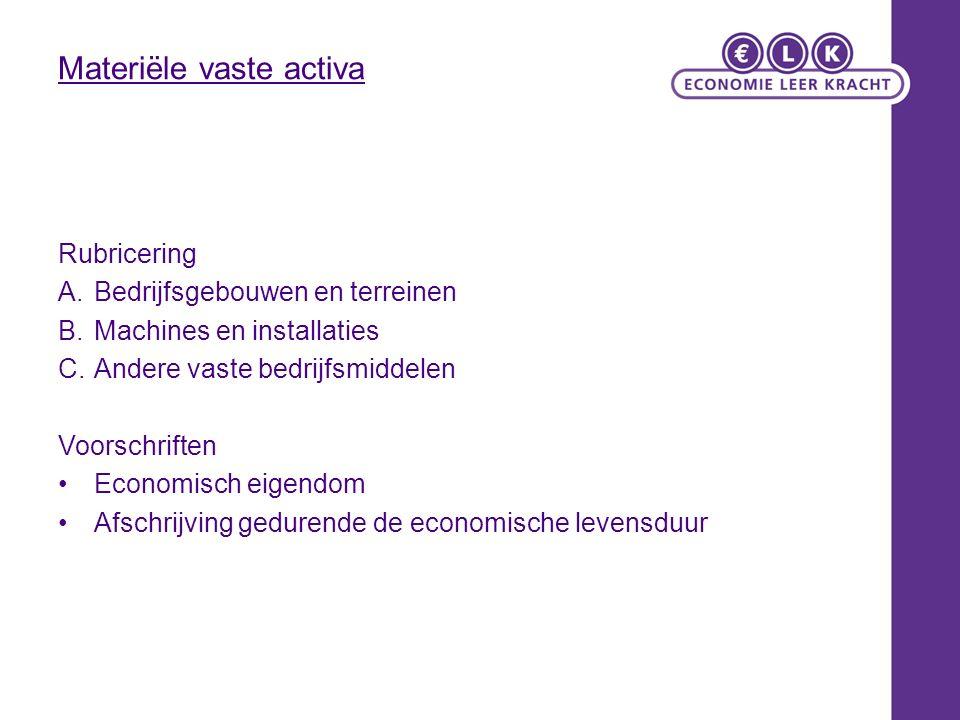Materiële vaste activa Rubricering A.Bedrijfsgebouwen en terreinen B.Machines en installaties C.Andere vaste bedrijfsmiddelen Voorschriften Economisch eigendom Afschrijving gedurende de economische levensduur