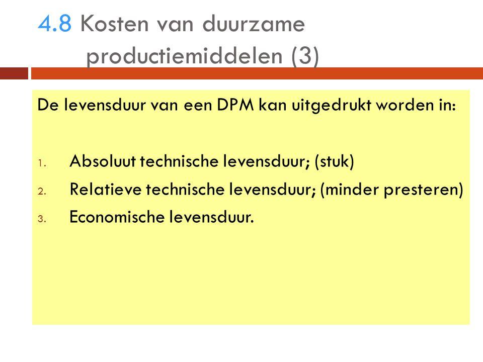 4.8 Kosten van duurzame productiemiddelen (3) De levensduur van een DPM kan uitgedrukt worden in: 1.