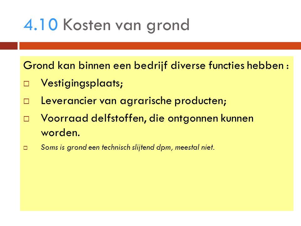 4.10 Kosten van grond Grond kan binnen een bedrijf diverse functies hebben :  Vestigingsplaats;  Leverancier van agrarische producten;  Voorraad delfstoffen, die ontgonnen kunnen worden.