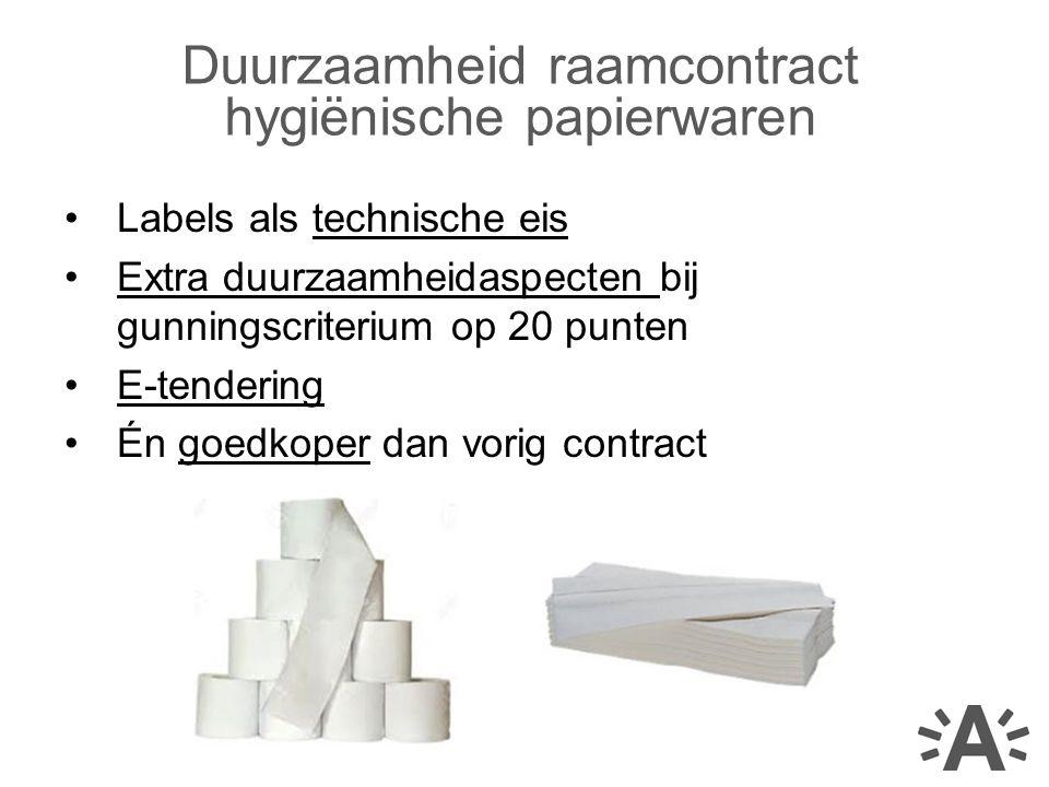 Labels als technische eis Extra duurzaamheidaspecten bij gunningscriterium op 20 punten E-tendering Én goedkoper dan vorig contract Duurzaamheid raamcontract hygiënische papierwaren