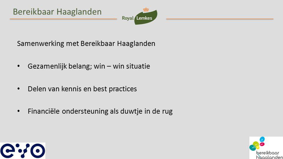 Bereikbaar Haaglanden Samenwerking met Bereikbaar Haaglanden Gezamenlijk belang; win – win situatie Delen van kennis en best practices Financiële ondersteuning als duwtje in de rug