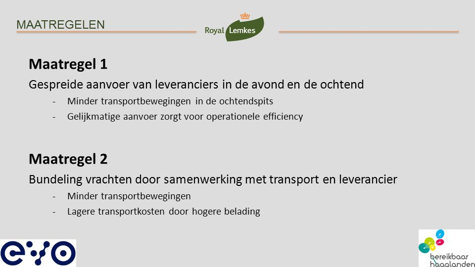 MAATREGELEN Maatregel 1 Gespreide aanvoer van leveranciers in de avond en de ochtend -Minder transportbewegingen in de ochtendspits -Gelijkmatige aanv