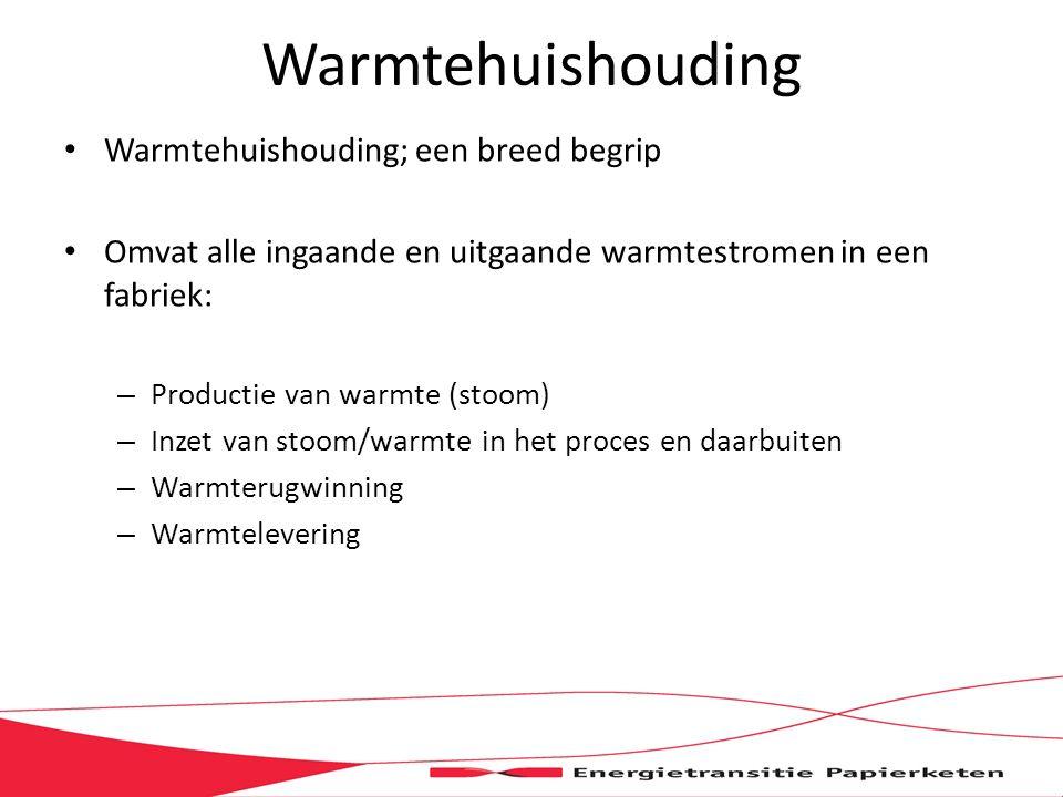 Warmtehuishouding Warmtehuishouding; een breed begrip Omvat alle ingaande en uitgaande warmtestromen in een fabriek: – Productie van warmte (stoom) – Inzet van stoom/warmte in het proces en daarbuiten – Warmterugwinning – Warmtelevering