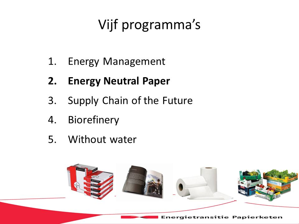 Vijf programma's 1.Energy Management 2.Energy Neutral Paper 3.Supply Chain of the Future 4.Biorefinery 5.Without water