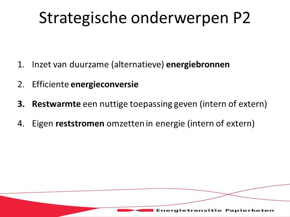 Strategische onderwerpen P2 1.Inzet van duurzame (alternatieve) energiebronnen 2.Efficiente energieconversie 3.Restwarmte een nuttige toepassing geven (intern of extern) 4.Eigen reststromen omzetten in energie (intern of extern)