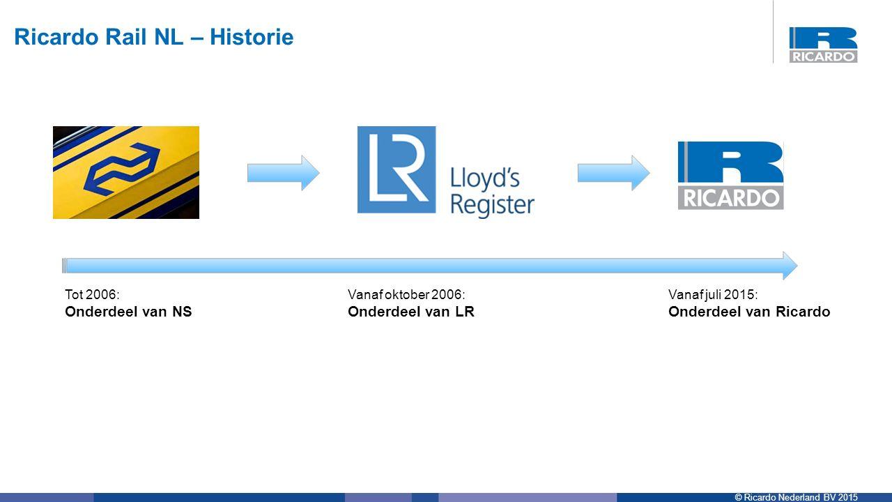 © Ricardo Nederland BV 2015 Ricardo Rail NL – Historie Tot 2006: Onderdeel van NS Vanaf oktober 2006: Onderdeel van LR Vanaf juli 2015: Onderdeel van Ricardo