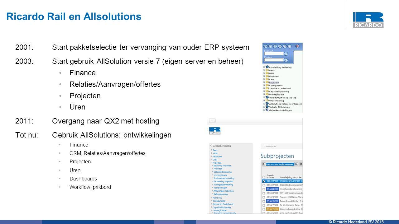 © Ricardo Nederland BV 2015 2001:Start pakketselectie ter vervanging van ouder ERP systeem 2003: Start gebruik AllSolution versie 7 (eigen server en b
