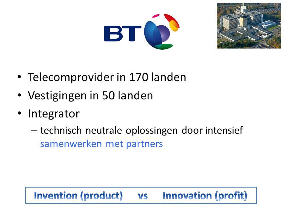 BT Adastral Park Belangrijkste R&D centrum van BT 3.500 VTE BT 690 VTE van 46 high-tech partners – Cisco, Ipanema, Intel, Juniper, Fujitsu, Alcatel, … 10.000 patenten (1975  heden) 2012: 400 nieuwe technologieën en business proposities