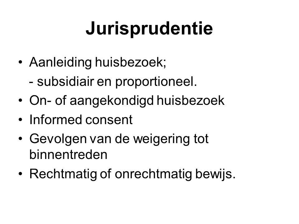 Jurisprudentie Aanleiding huisbezoek; - subsidiair en proportioneel. On- of aangekondigd huisbezoek Informed consent Gevolgen van de weigering tot bin