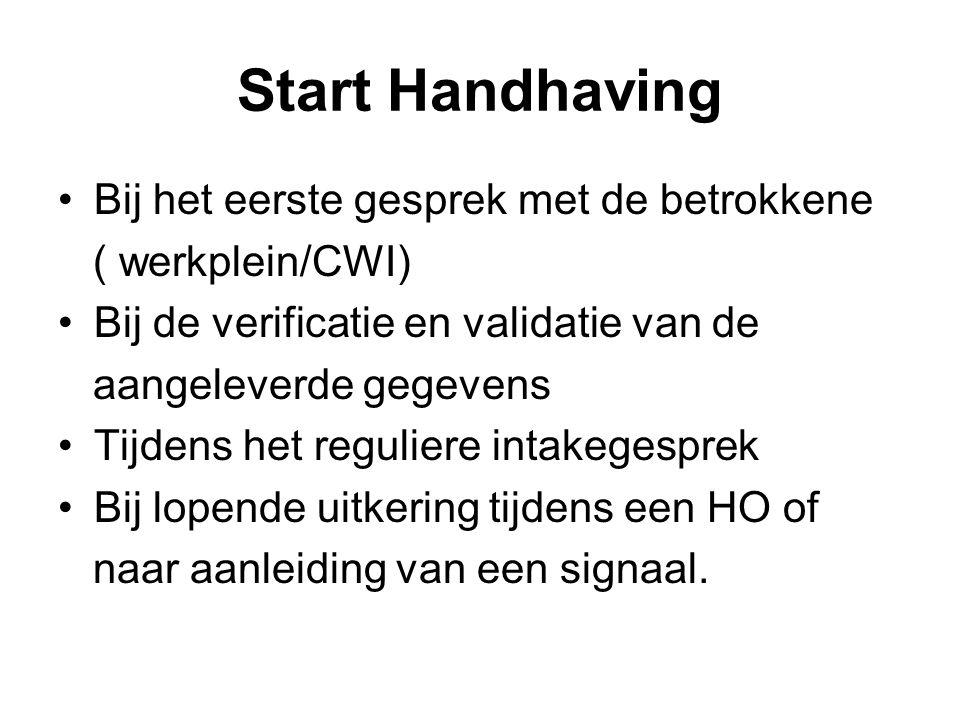 Start Handhaving Bij het eerste gesprek met de betrokkene ( werkplein/CWI) Bij de verificatie en validatie van de aangeleverde gegevens Tijdens het reguliere intakegesprek Bij lopende uitkering tijdens een HO of naar aanleiding van een signaal.