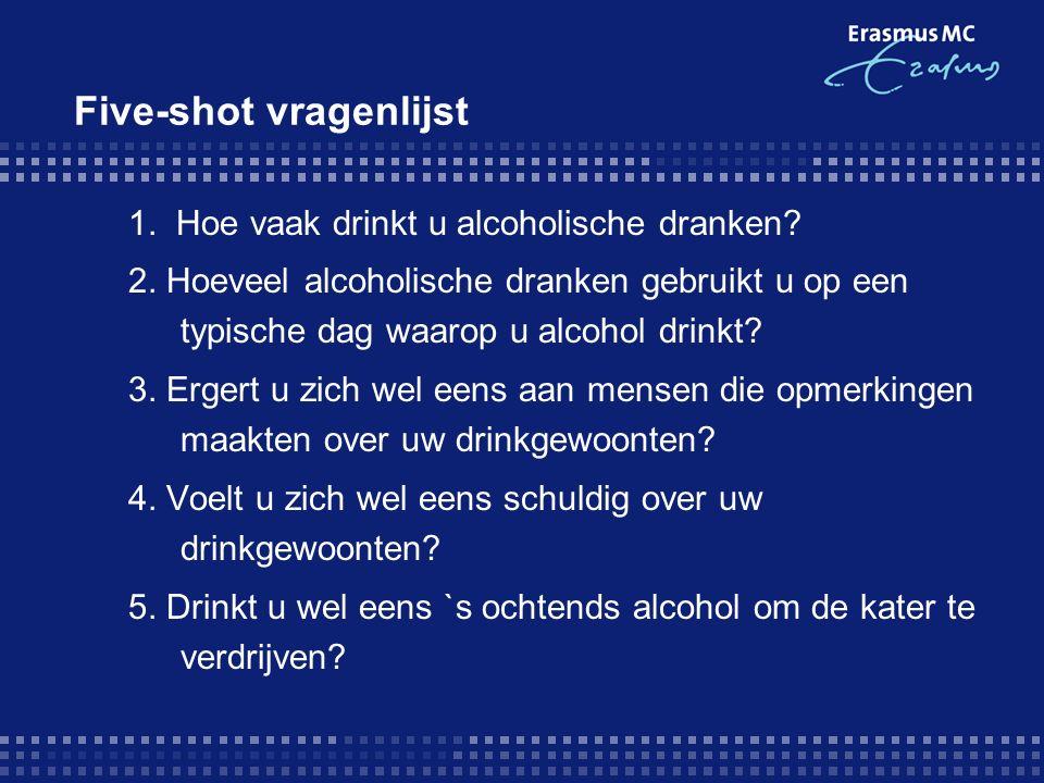 Five-shot vragenlijst 1. Hoe vaak drinkt u alcoholische dranken? 2. Hoeveel alcoholische dranken gebruikt u op een typische dag waarop u alcohol drink