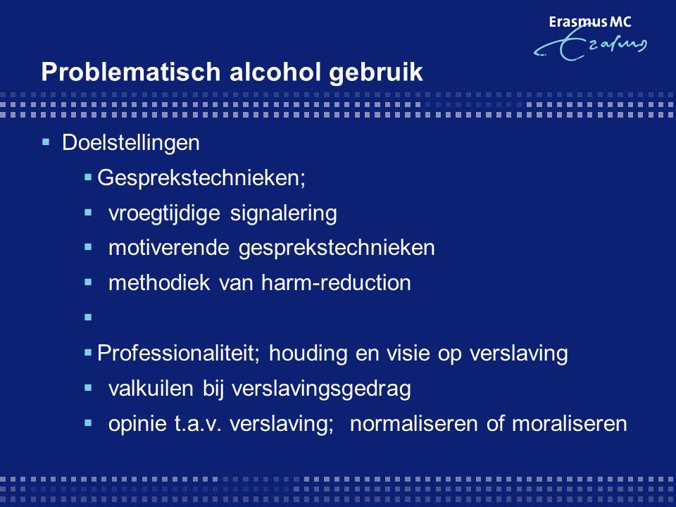 Problematisch alcohol gebruik  Doelstellingen  Gesprekstechnieken;  vroegtijdige signalering  motiverende gesprekstechnieken  methodiek van harm-