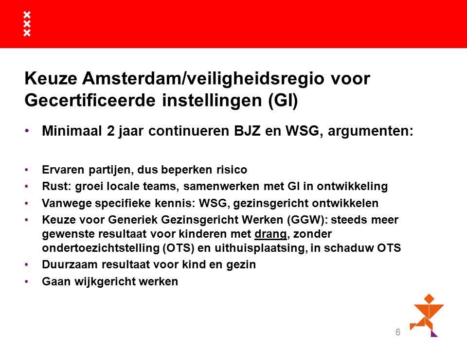 Keuze Amsterdam/veiligheidsregio voor Gecertificeerde instellingen (GI) Minimaal 2 jaar continueren BJZ en WSG, argumenten: Ervaren partijen, dus beperken risico Rust: groei locale teams, samenwerken met GI in ontwikkeling Vanwege specifieke kennis: WSG, gezinsgericht ontwikkelen Keuze voor Generiek Gezinsgericht Werken (GGW): steeds meer gewenste resultaat voor kinderen met drang, zonder ondertoezichtstelling (OTS) en uithuisplaatsing, in schaduw OTS Duurzaam resultaat voor kind en gezin Gaan wijkgericht werken 6