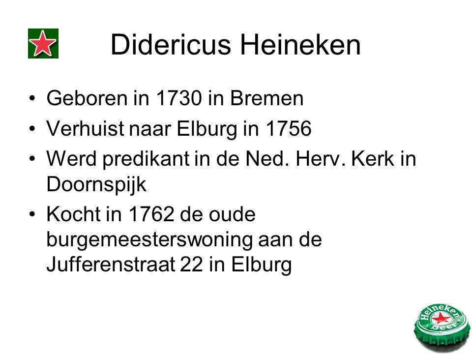 Didericus Heineken Geboren in 1730 in Bremen Verhuist naar Elburg in 1756 Werd predikant in de Ned. Herv. Kerk in Doornspijk Kocht in 1762 de oude bur