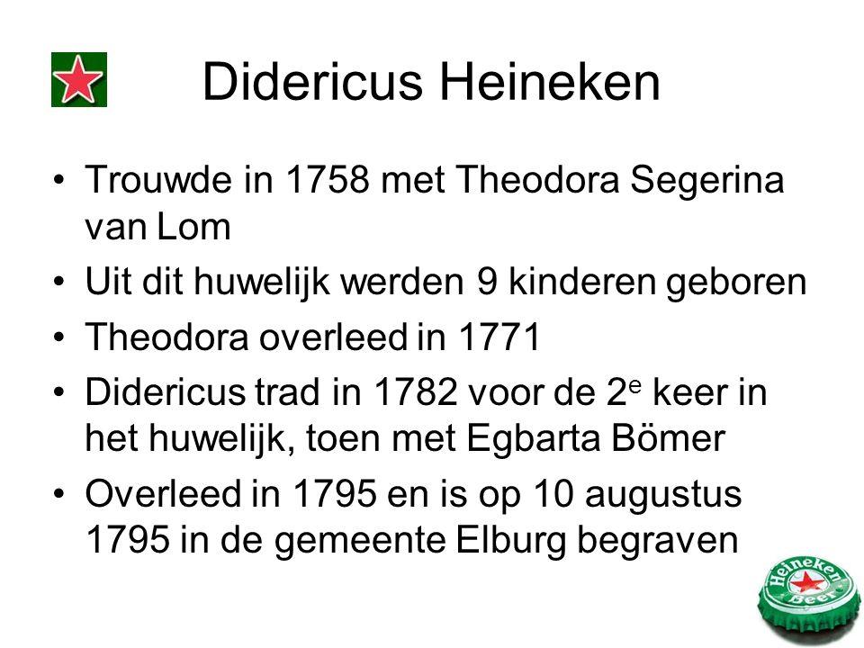 Didericus Heineken Trouwde in 1758 met Theodora Segerina van Lom Uit dit huwelijk werden 9 kinderen geboren Theodora overleed in 1771 Didericus trad in 1782 voor de 2 e keer in het huwelijk, toen met Egbarta Bömer Overleed in 1795 en is op 10 augustus 1795 in de gemeente Elburg begraven