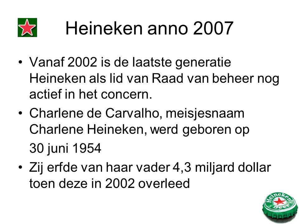 Heineken anno 2007 Vanaf 2002 is de laatste generatie Heineken als lid van Raad van beheer nog actief in het concern. Charlene de Carvalho, meisjesnaa