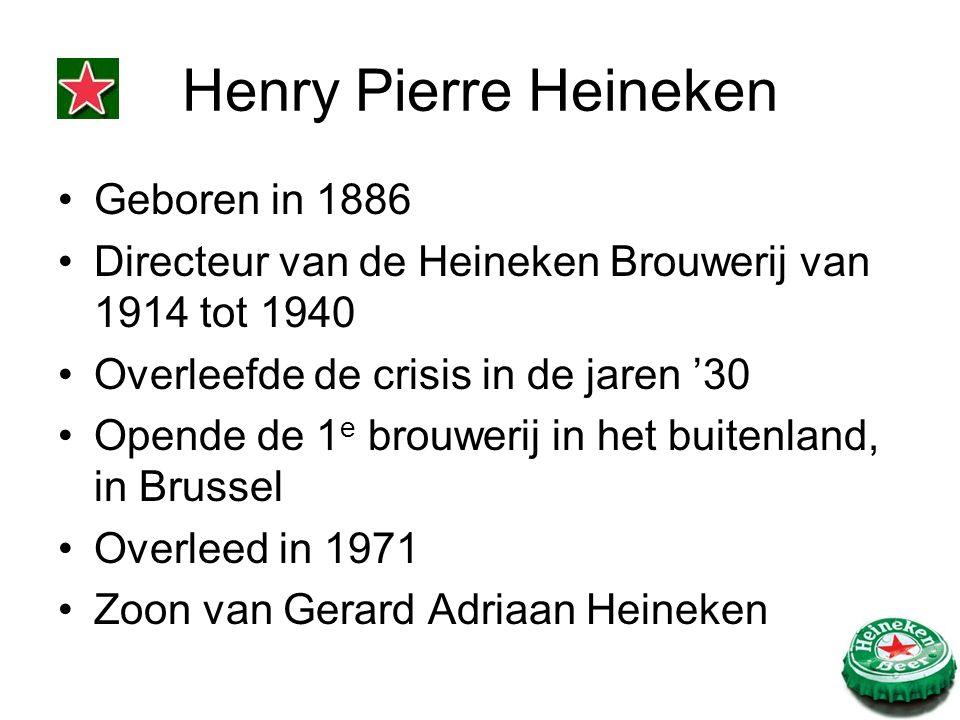 Geboren in 1886 Directeur van de Heineken Brouwerij van 1914 tot 1940 Overleefde de crisis in de jaren '30 Opende de 1 e brouwerij in het buitenland, in Brussel Overleed in 1971 Zoon van Gerard Adriaan Heineken