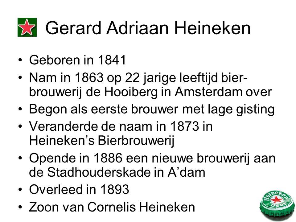 Geboren in 1841 Nam in 1863 op 22 jarige leeftijd bier- brouwerij de Hooiberg in Amsterdam over Begon als eerste brouwer met lage gisting Veranderde de naam in 1873 in Heineken's Bierbrouwerij Opende in 1886 een nieuwe brouwerij aan de Stadhouderskade in A'dam Overleed in 1893 Zoon van Cornelis Heineken