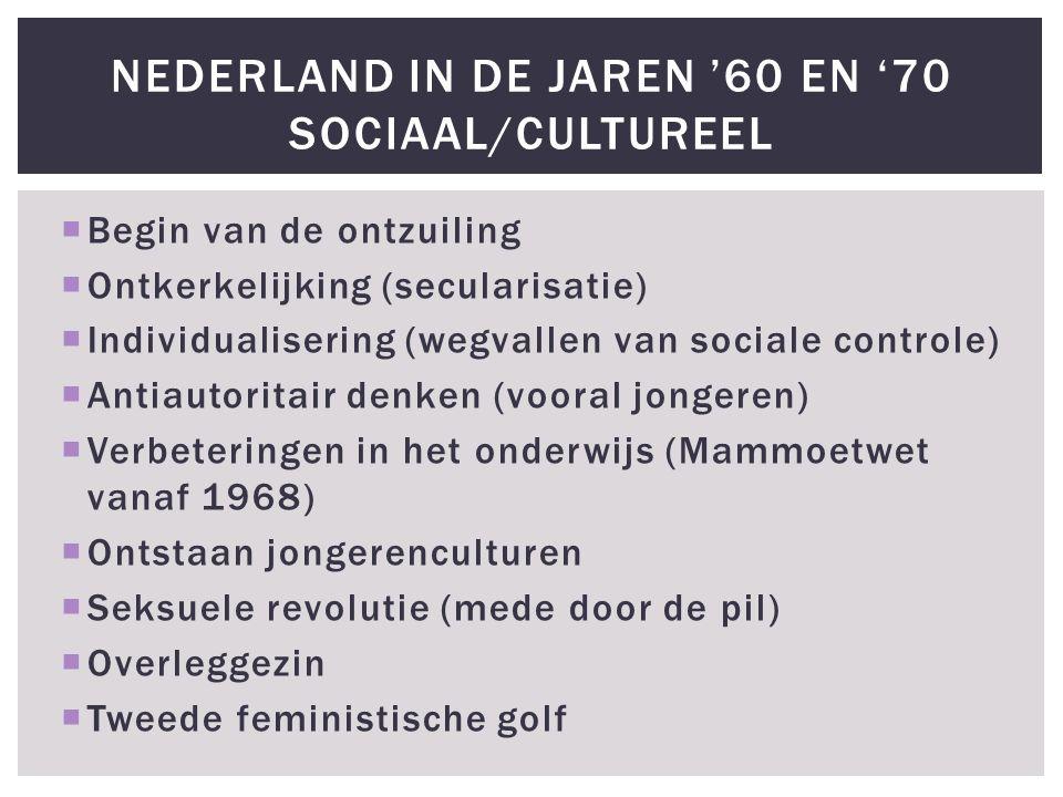  Begin van de ontzuiling  Ontkerkelijking (secularisatie)  Individualisering (wegvallen van sociale controle)  Antiautoritair denken (vooral jongeren)  Verbeteringen in het onderwijs (Mammoetwet vanaf 1968)  Ontstaan jongerenculturen  Seksuele revolutie (mede door de pil)  Overleggezin  Tweede feministische golf NEDERLAND IN DE JAREN '60 EN '70 SOCIAAL/CULTUREEL