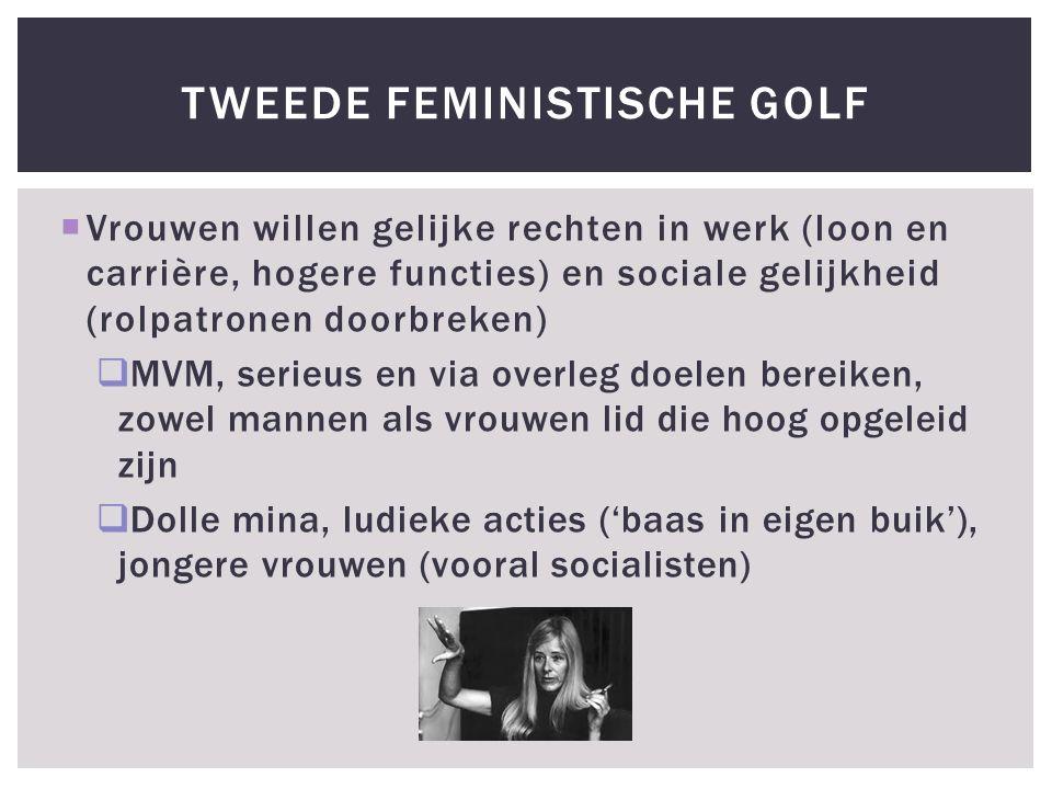  Vrouwen willen gelijke rechten in werk (loon en carrière, hogere functies) en sociale gelijkheid (rolpatronen doorbreken)  MVM, serieus en via overleg doelen bereiken, zowel mannen als vrouwen lid die hoog opgeleid zijn  Dolle mina, ludieke acties ('baas in eigen buik'), jongere vrouwen (vooral socialisten) TWEEDE FEMINISTISCHE GOLF