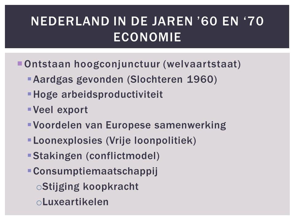  Ontstaan hoogconjunctuur (welvaartstaat)  Aardgas gevonden (Slochteren 1960)  Hoge arbeidsproductiviteit  Veel export  Voordelen van Europese sa