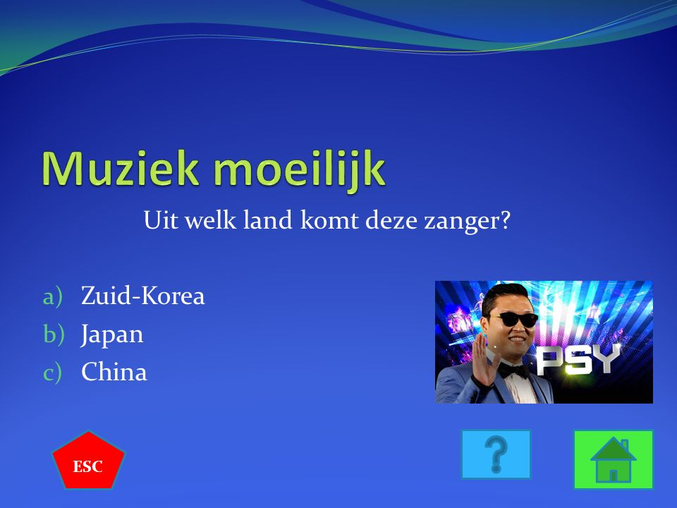 Uit welk land komt deze zanger? a) Zuid-Korea b) Japan c) China ESC