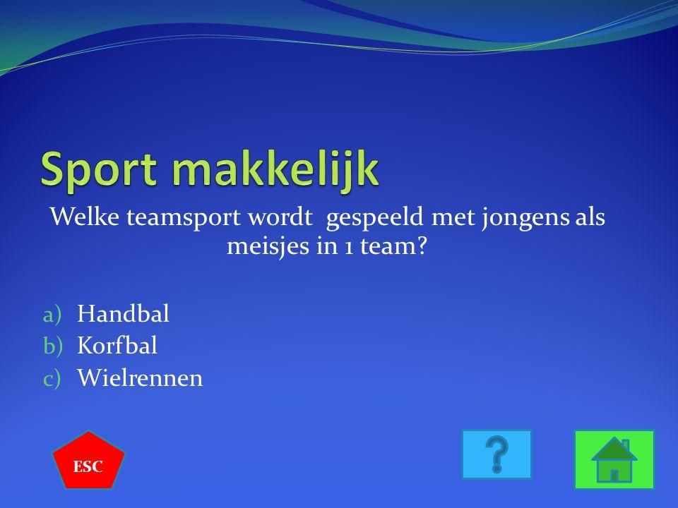 Welke teamsport wordt gespeeld met jongens als meisjes in 1 team.