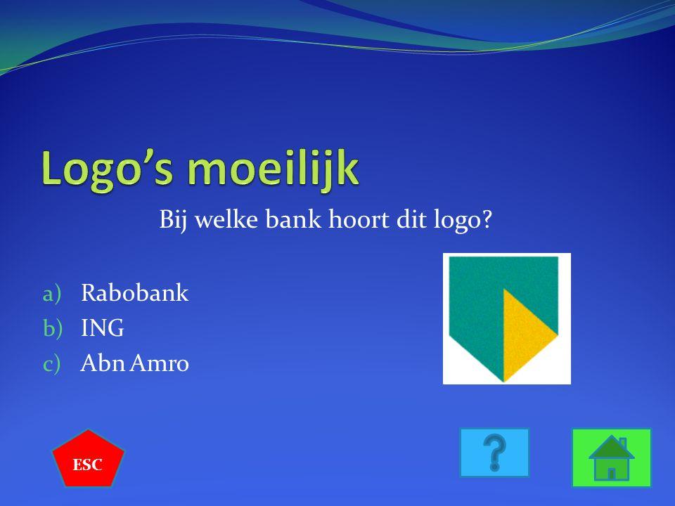 Bij welke bank hoort dit logo a) Rabobank b) ING c) Abn Amro ESC