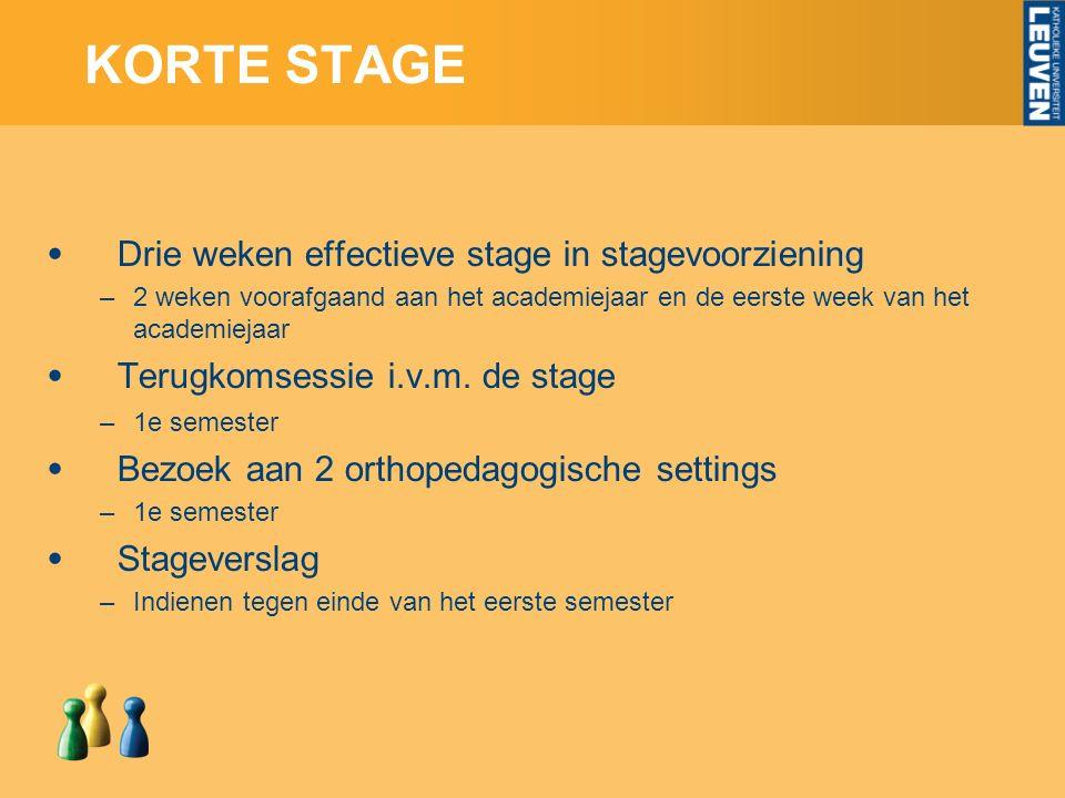 KORTE STAGE Drie weken effectieve stage in stagevoorziening –2 weken voorafgaand aan het academiejaar en de eerste week van het academiejaar Terugkomsessie i.v.m.