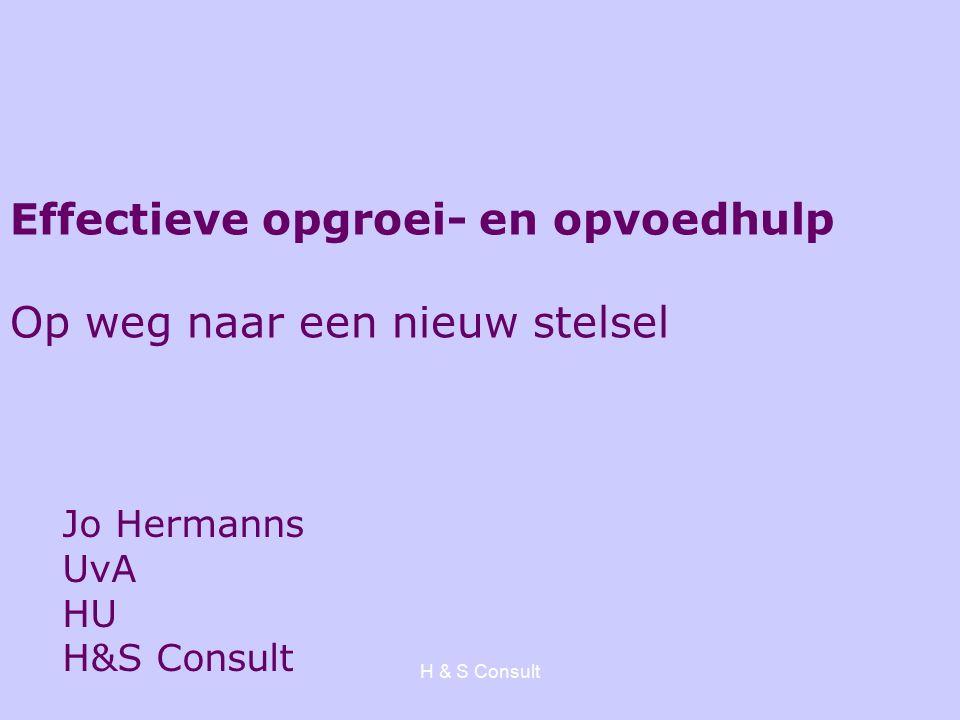 H & S Consult Effectieve opgroei- en opvoedhulp Op weg naar een nieuw stelsel Jo Hermanns UvA HU H&S Consult