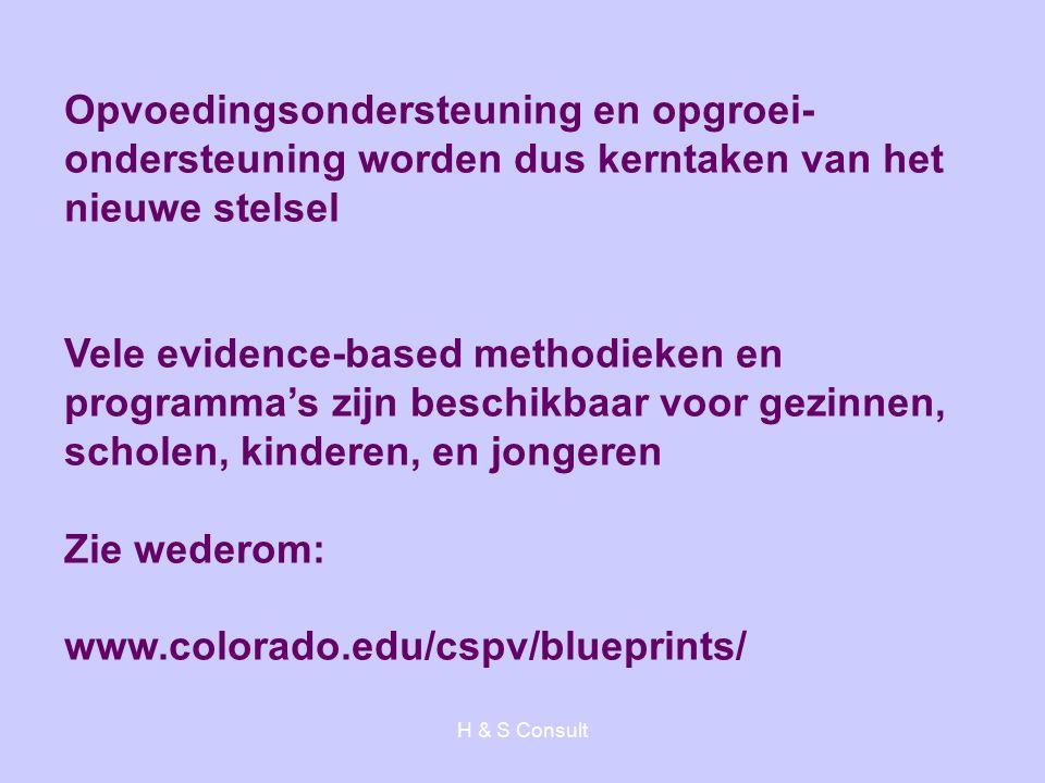 H & S Consult Opvoedingsondersteuning en opgroei- ondersteuning worden dus kerntaken van het nieuwe stelsel Vele evidence-based methodieken en programma's zijn beschikbaar voor gezinnen, scholen, kinderen, en jongeren Zie wederom: www.colorado.edu/cspv/blueprints/