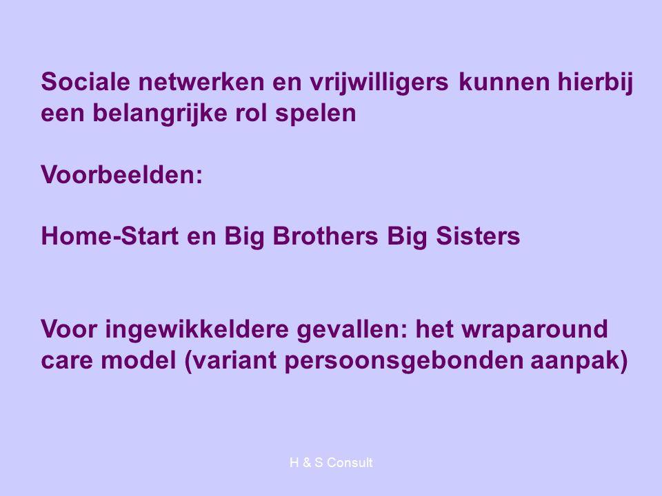 H & S Consult Sociale netwerken en vrijwilligers kunnen hierbij een belangrijke rol spelen Voorbeelden: Home-Start en Big Brothers Big Sisters Voor ingewikkeldere gevallen: het wraparound care model (variant persoonsgebonden aanpak)