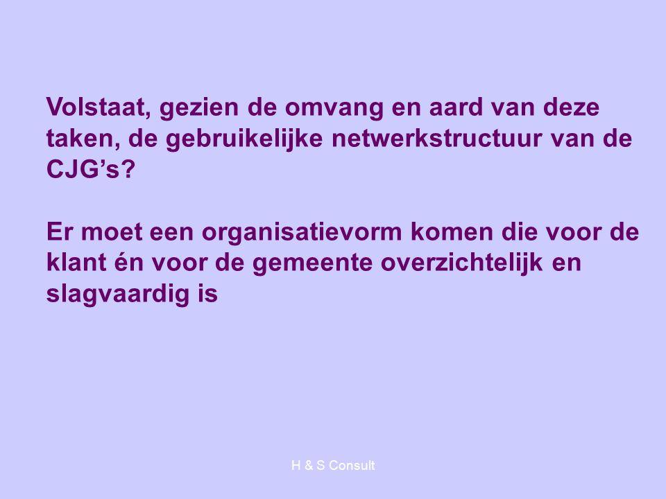 H & S Consult Volstaat, gezien de omvang en aard van deze taken, de gebruikelijke netwerkstructuur van de CJG's? Er moet een organisatievorm komen die