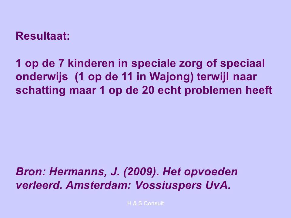 H & S Consult Resultaat: 1 op de 7 kinderen in speciale zorg of speciaal onderwijs (1 op de 11 in Wajong) terwijl naar schatting maar 1 op de 20 echt problemen heeft Bron: Hermanns, J.