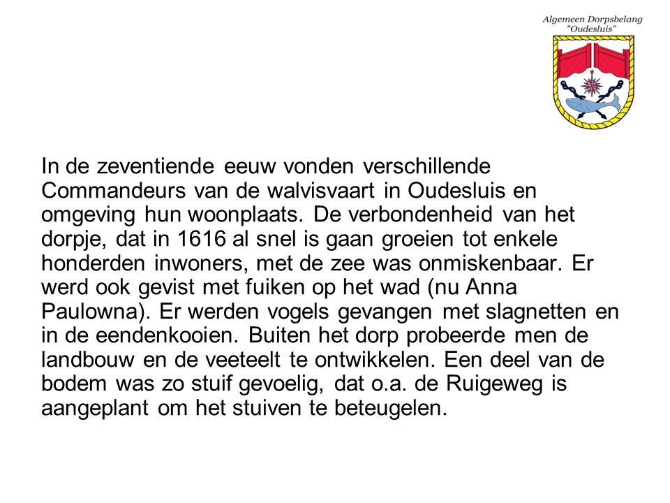 In de zeventiende eeuw vonden verschillende Commandeurs van de walvisvaart in Oudesluis en omgeving hun woonplaats. De verbondenheid van het dorpje, d