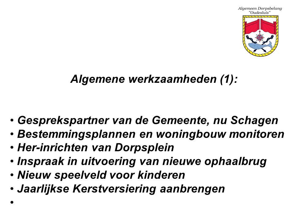Algemene werkzaamheden (1): Gesprekspartner van de Gemeente, nu Schagen Bestemmingsplannen en woningbouw monitoren Her-inrichten van Dorpsplein Inspra