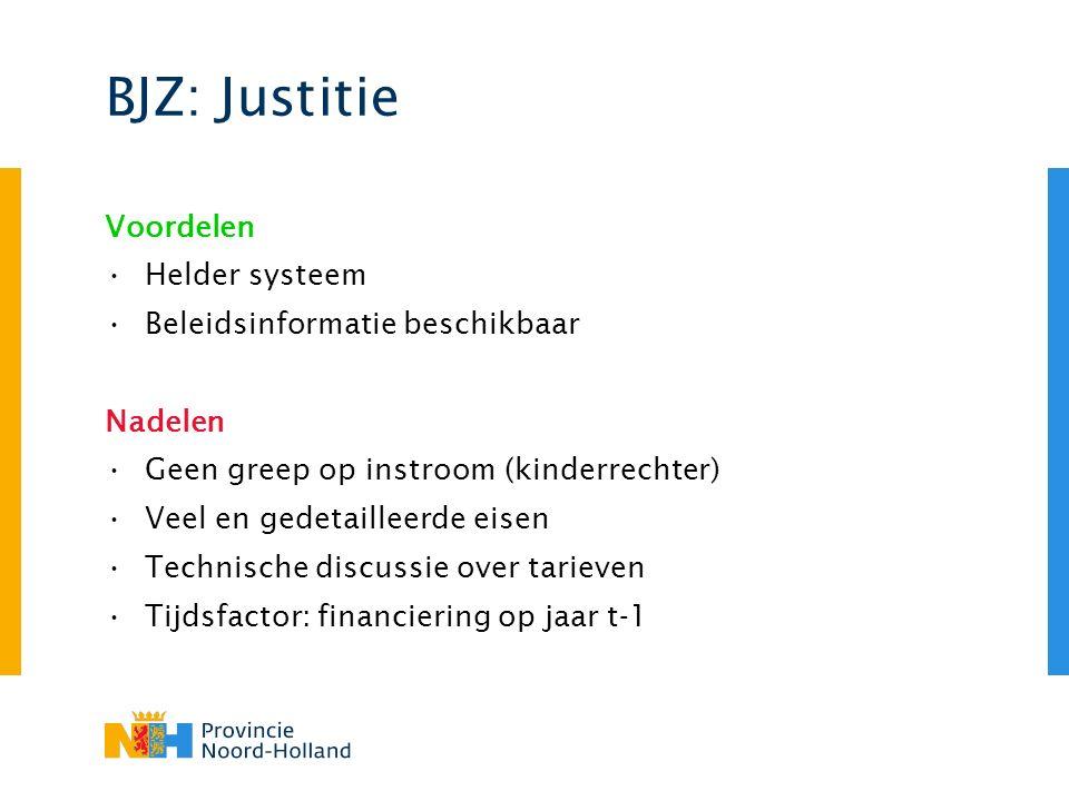 BJZ: Justitie Voordelen Helder systeem Beleidsinformatie beschikbaar Nadelen Geen greep op instroom (kinderrechter) Veel en gedetailleerde eisen Technische discussie over tarieven Tijdsfactor: financiering op jaar t-1