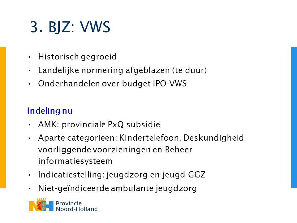 3. BJZ: VWS Historisch gegroeid Landelijke normering afgeblazen (te duur) Onderhandelen over budget IPO-VWS Indeling nu AMK: provinciale PxQ subsidie