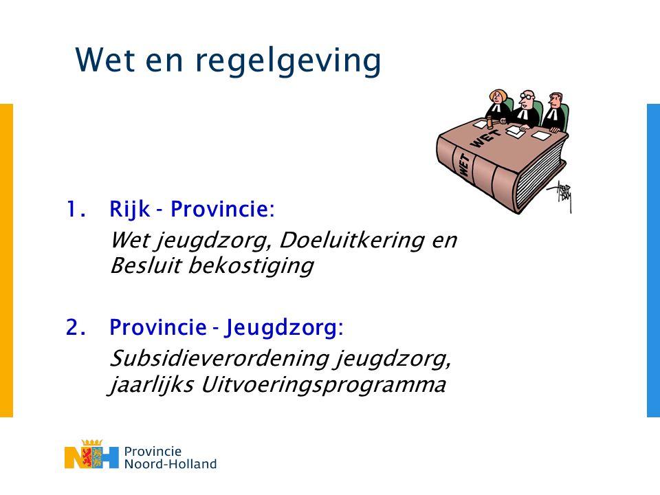 Wet en regelgeving 1.Rijk - Provincie: Wet jeugdzorg, Doeluitkering en Besluit bekostiging 2.